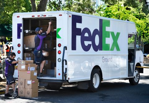 Federal Express truck delivers packages in Oregon, USA