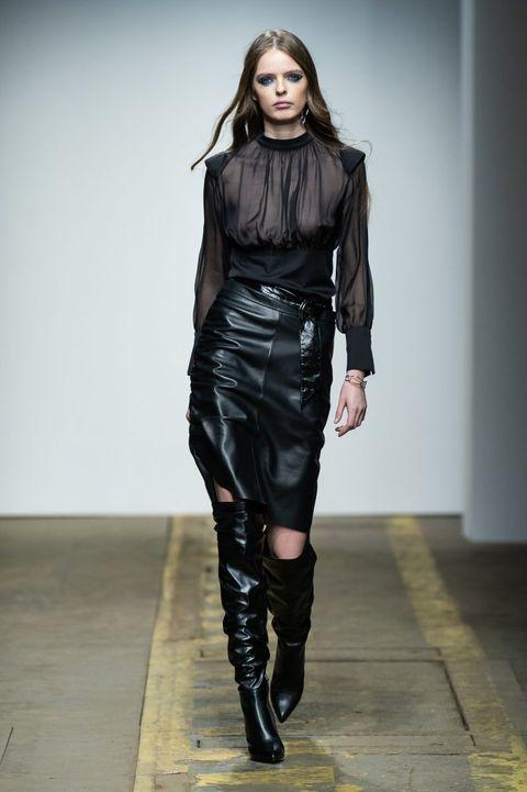 Fashion model, Fashion show, Runway, Fashion, Clothing, Shoulder, Footwear, Leather, Joint, Knee,