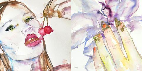 Watercolor paint, Illustration, Art, Drawing, Fashion illustration, Plant, Sketch,