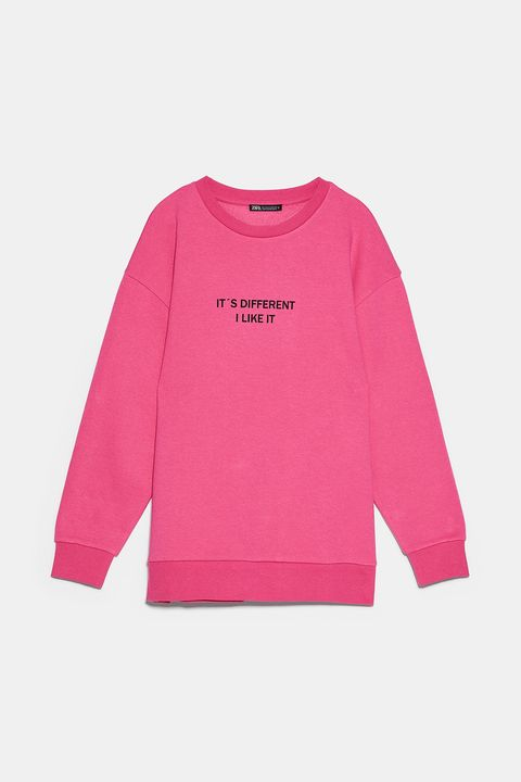 Clothing, Sleeve, Pink, Long-sleeved t-shirt, T-shirt, Outerwear, Magenta, Top, Sweater, Font,