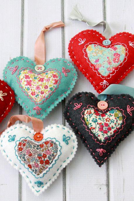 valentine's day heart crafts fabric heart satchel