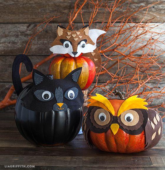 felt animal pumpkin decorating & 80+ Creative Pumpkin Decorating Ideas - Easy Halloween Pumpkin ...