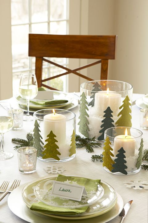 felt pine tree christmas centerpiece - Diy Christmas Table Decorations