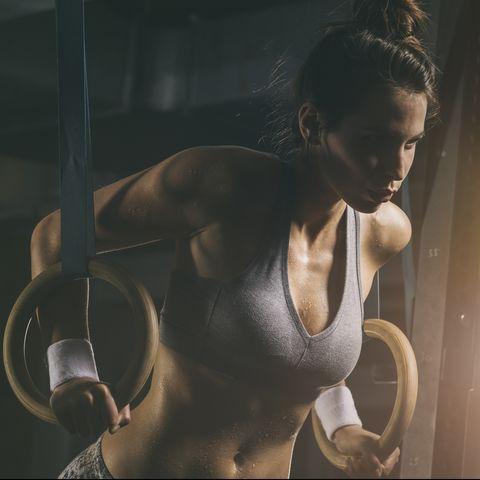 female athlete, gymnastic rings