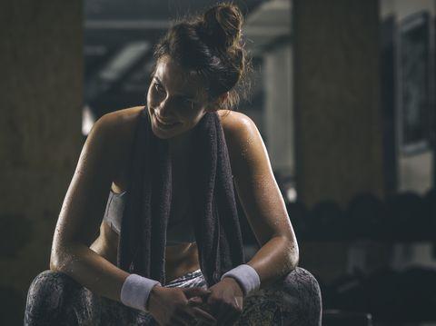 Female athlete resting