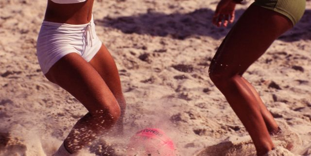 female beach soccer, the game emphasises skill and agility,