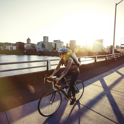 a female bike commuting