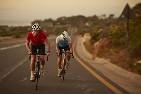 Female bike rider taking lead in sprint