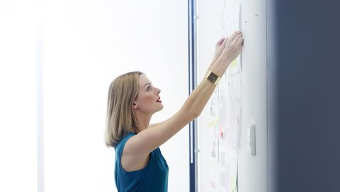 Female colleague pinning up work for brainstorm