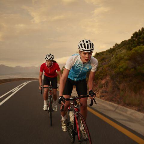 Female cyclist taking lead in sprint