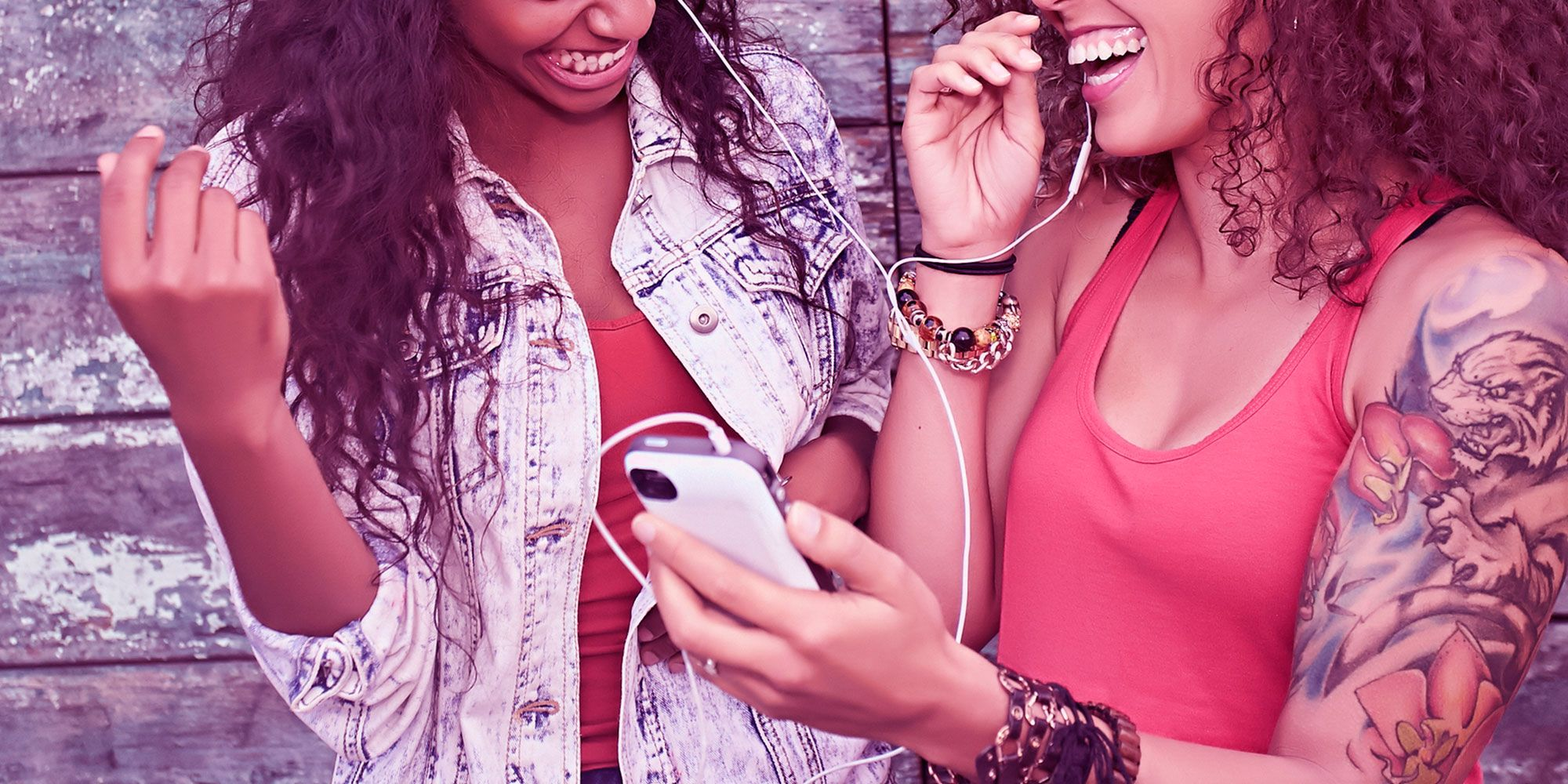 Female friends laughing