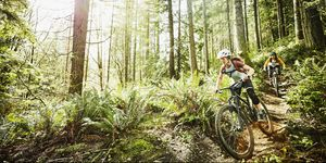 Female friends riding mountain bikes down trail in wood
