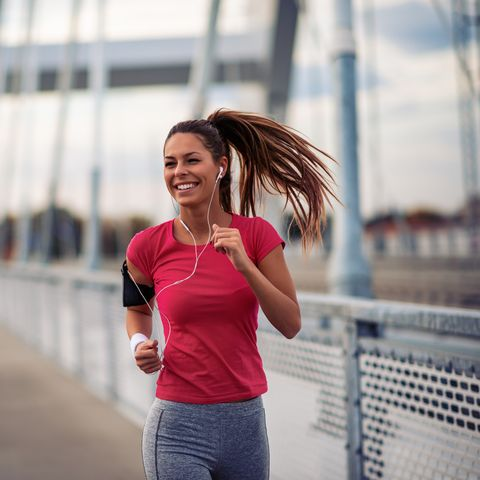 Female running in the city
