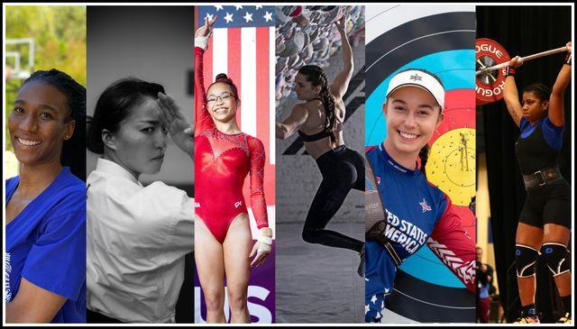 6 female olympians foluke akinradeow, sakura kokumai, morgan hurd, kyra condie, casey kaufhold, mattie sasser