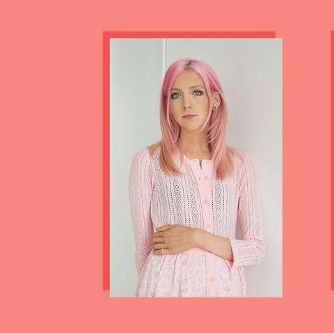 Pink, Hair, Text, Product, Beauty, Skin, Font, Long hair, Blond, Peach,