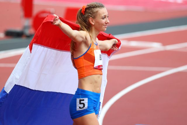 tokyo, japan   august 04 femke bol of team netherlands celebrates after winning bronze in the womens 400m hurdles final on day twelve of the tokyo 2020 olympic games at olympic stadium on august 04, 2021 in tokyo, japan photo by abbie parrgetty images