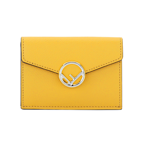 Wallet, Yellow, Fashion accessory, Leather, Coin purse, Handbag, Bag, Material property, Rectangle, Brand,