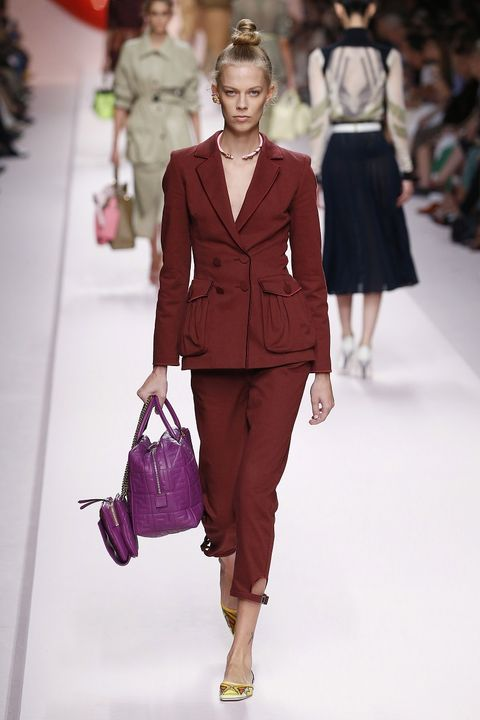 Fashion model, Fashion show, Fashion, Runway, Clothing, Pink, Shoulder, Human, Public event, Outerwear,