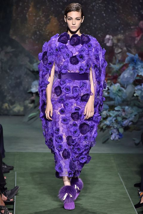 Fashion, Runway, Fashion model, Fashion show, Purple, Haute couture, Clothing, Violet, Lavender, Dress,