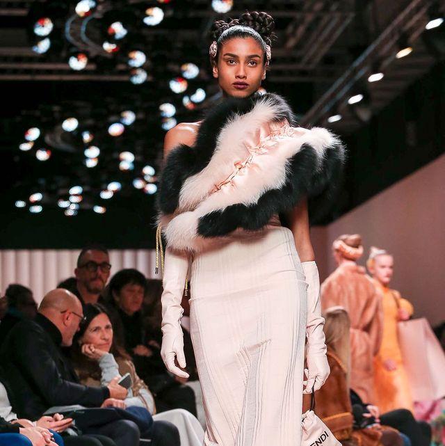 Fashion, Fashion model, Fashion show, Runway, Clothing, Fur, Fashion design, Fur clothing, Event, Haute couture,