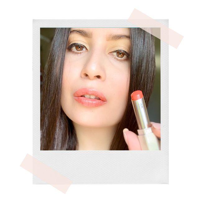 zarah wearing fenty beauty slip shine sheer shiny lipstick