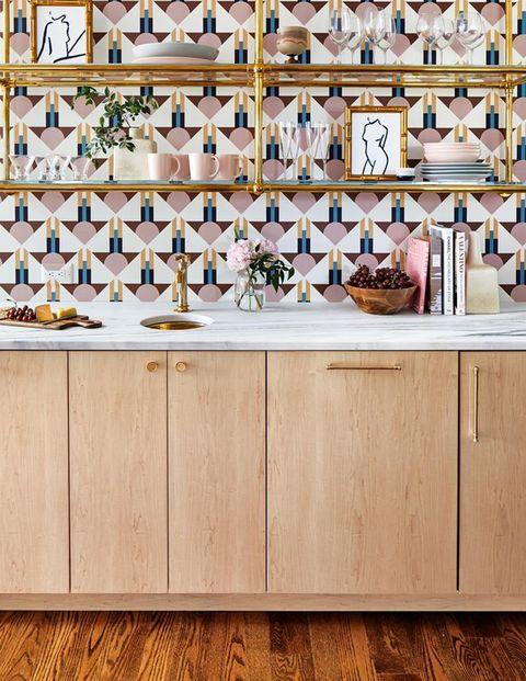 bar, wood cabinets