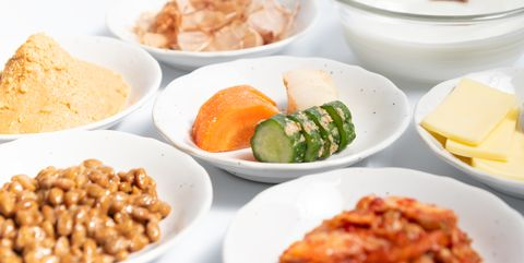 fermented food on white background