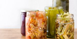 Fermented preserved vegetables in jar