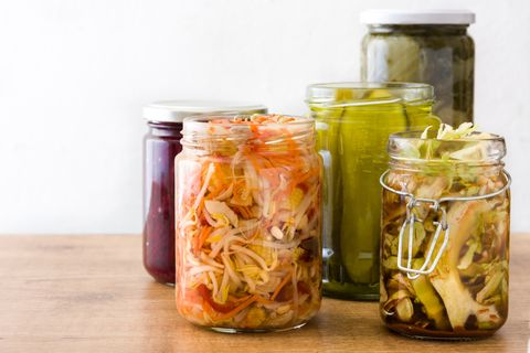 Fermented preserved vegetables in jar