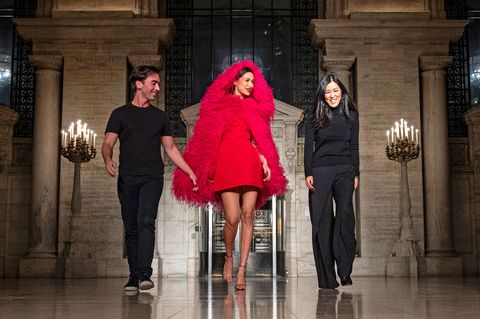 the designers take their bow with bella hadid at their fall 2020 show