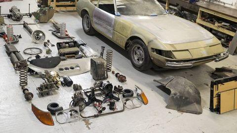 Vehicle, Car, Automobile repair shop, Auto part, Hood, Coupé, Scrap, Sedan, Classic car, Engine,
