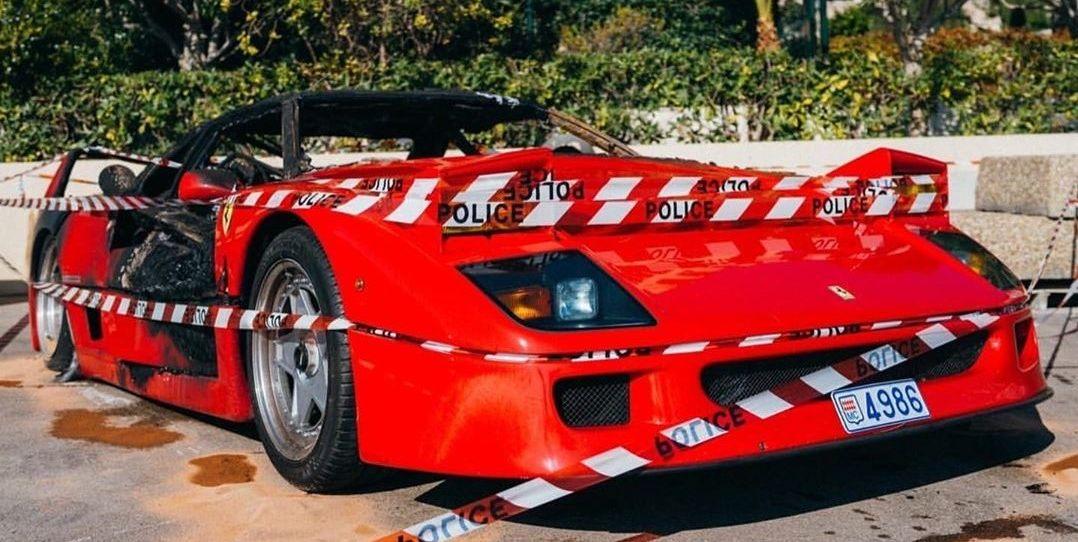 Este Ferrari F40 ardiendo en Mónaco es lo más doloroso que vas a ver hoy