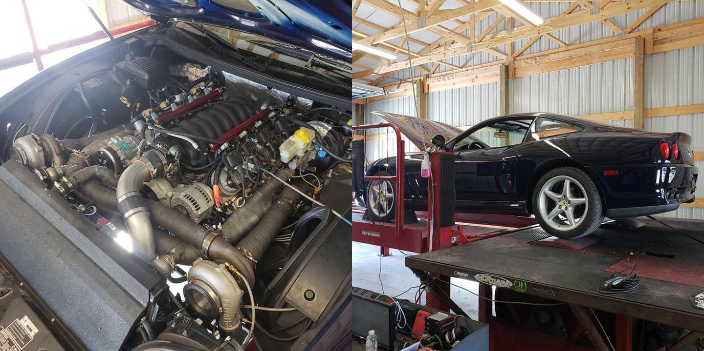 Listen to the Twin-Turbo V-8 Scream of This LS-Swapped Ferrari 550 Maranello