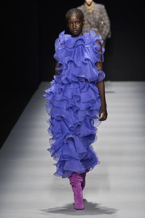 Fashion, Blue, Runway, Fashion model, Fashion show, Shoulder, Purple, Haute couture, Fashion design, Electric blue,