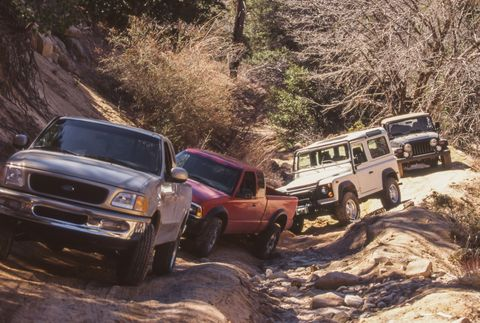 1997 chevrolet s10 zr2, 1997 ford expedition, 1997 ford f 150, 1997 jeep grand cherokee, 1997 jeep wrangler, 1997 land rover defender 90, 1997 subaru outback, 1997 toyota rav4