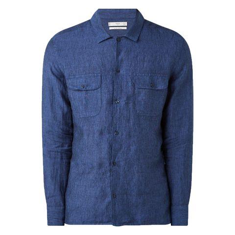 mango donkerblauwe linnen overhemd