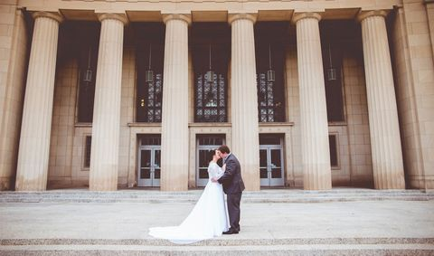 Photograph, Bride, Wedding dress, Dress, Gown, Ceremony, Bridal clothing, Wedding, Veil, Column,