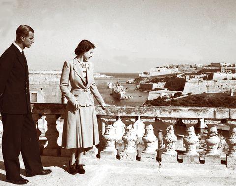 マルタ島のエリザベス王女とフィリップ殿下