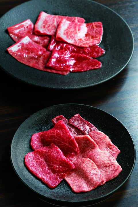 「厳選赤身ランチコース」で登場する赤身肉6種。焼肉うしごろ 銀座並木通り店