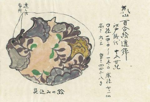 乾山 百合絵鉢