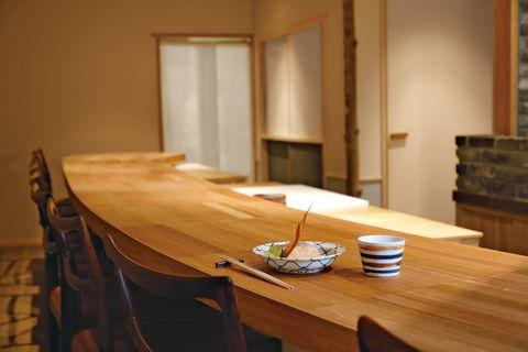 つろくの店内。カウンターでいただく「甘鯛の松笠焼き」。酒盃は、京焼・坂井咲子作。