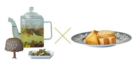 mitosaya 薬草園蒸留所の「ブルースター ボタニカル ブレンド ティー」(左)× ベイクショップハヤシの「靜心オリジナルクッキーボックス」(右)
