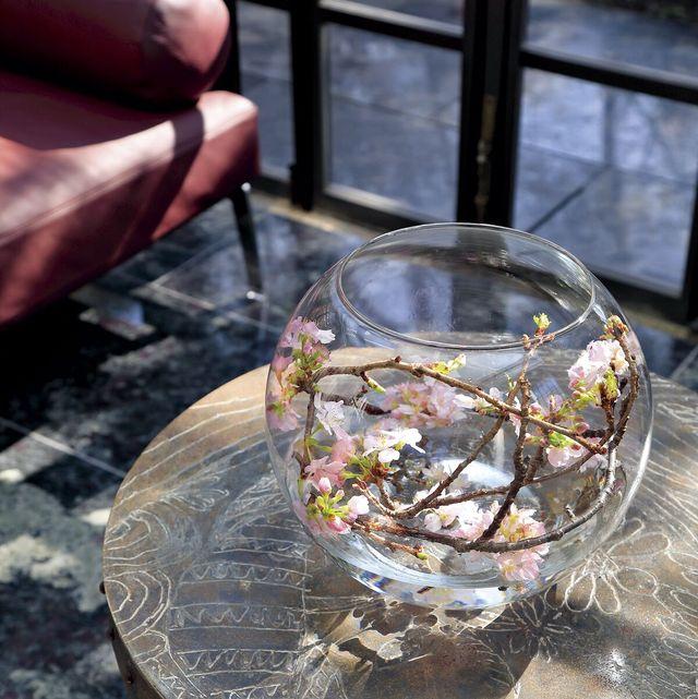 フラワーベースに 収めて、 花びらも愛でる 花びらが周りに散ってしまうと好ましくないシーン、また、上から愛でることができるシーンには、ガラスのボール形花器を利用したアレンジを。桜をくるくると巻いて花器の中にすっぽりと収めるスタイル。ガラス使いで空間も明るい印象になる。