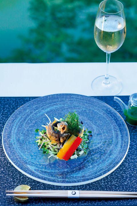 星のや京都 鮎の揚げ物と野菜