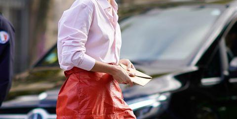 Street fashion, Clothing, Fashion, Pink, Snapshot, Luxury vehicle, Vehicle, Outerwear, Car, Shirt,
