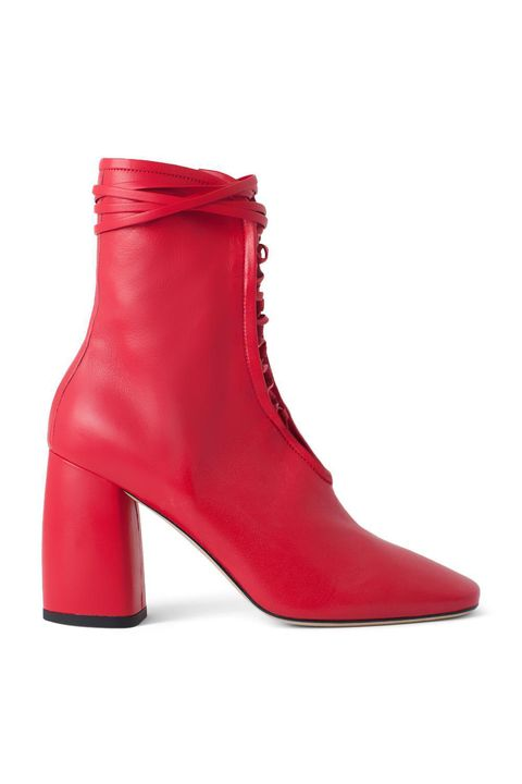 Footwear, Red, Shoe, Boot, High heels, Magenta, Leather,