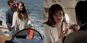 Fifty Shades boat and private jet scenes