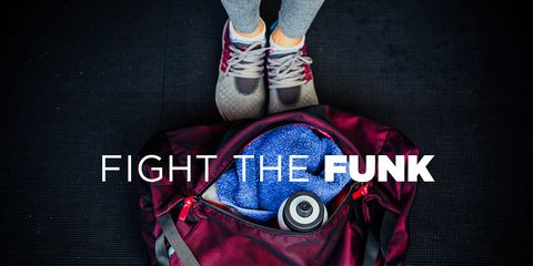 """clothes in a gym bag with the text """"fight the funk"""" on top"""