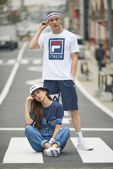 White, T-shirt, Blue, Street fashion, Fashion, Snapshot, Jeans, Footwear, Fun, Shoulder,
