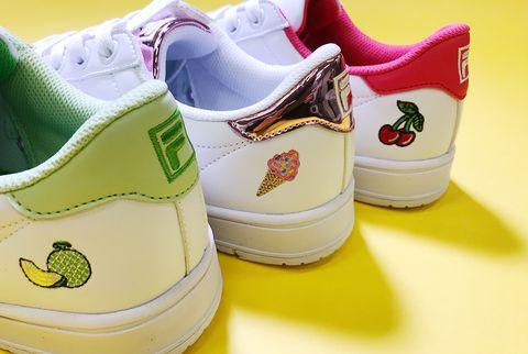 Footwear, Shoe, Walking shoe, Yellow, Sneakers, Athletic shoe, Outdoor shoe,